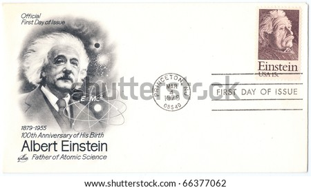 "USA - CIRCA 1979: An old envelope in honor of 100th Anniversary of Birth of Mathematician Physicist Nobel Prize Winner Albert Einstein with inscription ""Father of Atomic Science"", series, circa 1979"