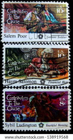 USA - CIRCA 1975 : Post stamps printed in the USA shows the Americans Salem Poor,Haym Salomon and Sybil Ludington, series Contributors to the cause circa 1975