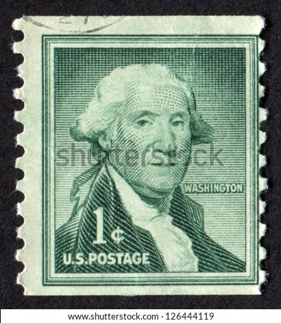 USA- CIRCA 1955: Postage stamp printed in United States of America shows a George Washington portrait. Scott Catalog 1031 A478, 1c dark green, circa 1955
