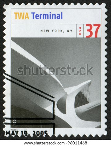 USA - CIRCA 2005: Postage stamp printed in USA shows the image of Trans World Airlines (TWA) Terminal (New York City). Modern American Architecture, circa 2005