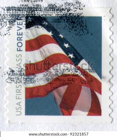 USA- CIRCA 2011: Postage stamp printed in USA shows the image of USA Flag. USA FIRST CLASS FOREVER, circa 2011