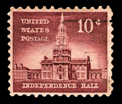 USA - CIRCA 1956: Postage stamps printed in USA, Allied Nations Issue, shows Independence Hall in Philadelphia, circa 1956