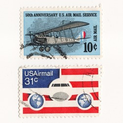 USA CIRCA 1960 set postage stams 50th Anniversary US Air Mail Service