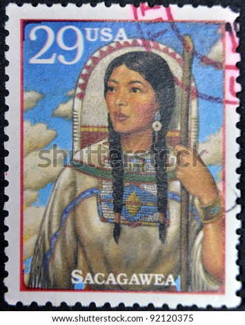 USA - CIRCA 1994 : Stamp printed in USA show Sacagawea, Shoshone woman who accompanied Lewis and William Clark in their exploration of Western USA, circa 1994