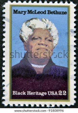 USA - CIRCA 2000 : stamp printed in USA shows Mary McLeod Bethune African-American educator and civil rights leader, circa 2000