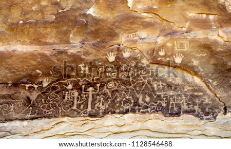 USA, Colorado, Montezuma County, Mesa Verde National Park. The panel at the end of the Petroglyph Point Trail.