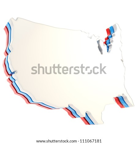 USA country shaped copyspace three layer dimensional plate isolated on white background