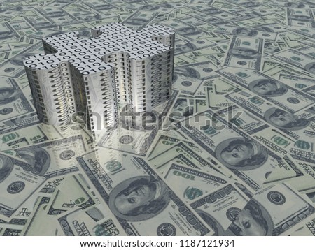 Stock Photo USA Currency Last Puzzle Piece. 3D rendering