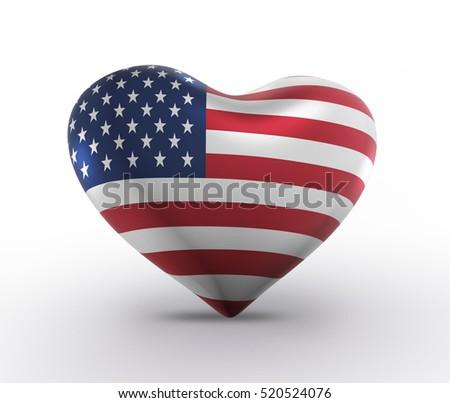 USA 3D Flag Heart Shape, American Banner (3D Render)