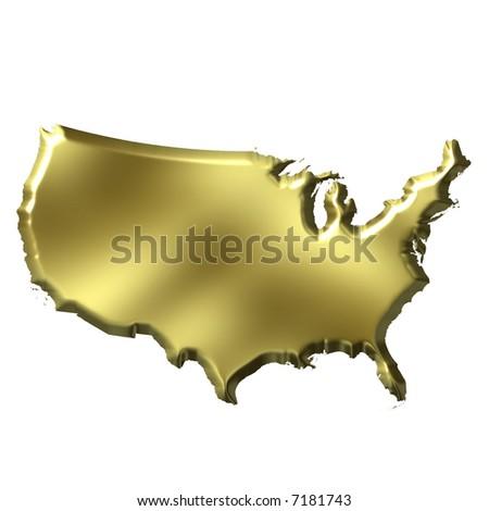 USA 3D Golden Map