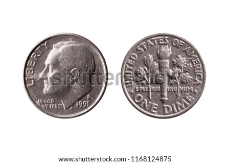 USA dime nickel coin (10 cents) obverse Franklin D Roosevelt reverse olive branch torch oak branch cut out and isolated on a white background