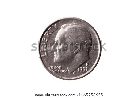 USA dime nickel coin (10 cents) with a portrait image of Franklin D Roosevelt cut out and isolated on a white background