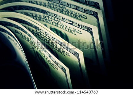 USA dollars. Dark style.