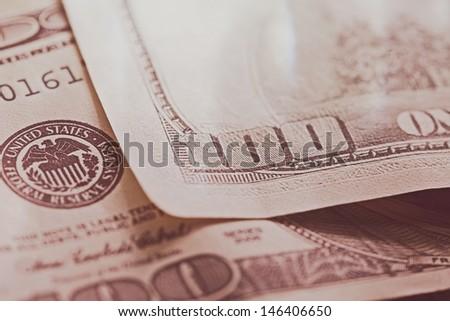 USA dollars. Macro image with selective focus. Toned image.