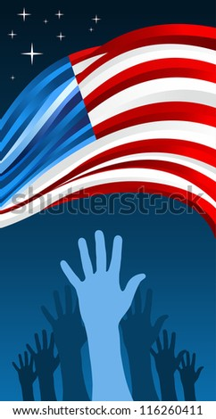 USA elections hand people vote with waving flag illustration background.