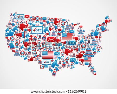 USA elections icon set in national map shape.