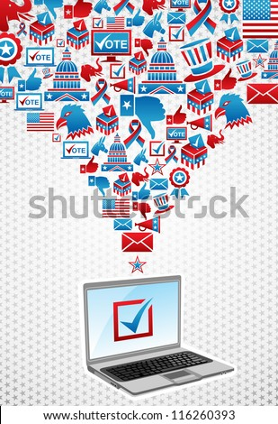 USA elections online voting: notebook with politics icons splash over white stars background.