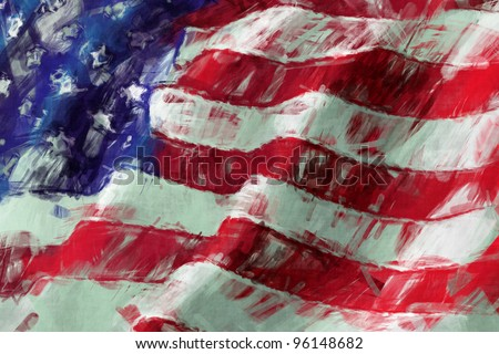 USA Flag abstract painting background