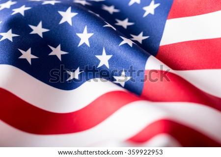 USA flag. American flag. American flag blowing wind. Close-up. Studio shot. #359922953