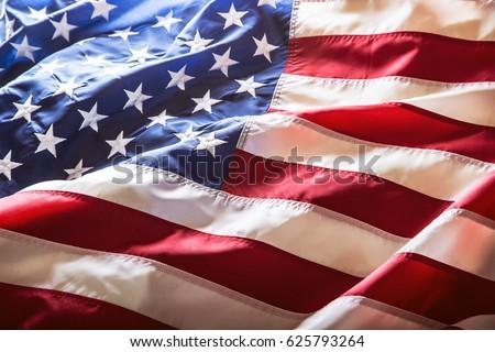 USA flag. American flag. American flag blowing wind. Close-up. Studio shot. #625793264