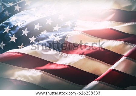 USA flag. American flag. American flag blowing wind. Close-up. Studio shot. #626258333
