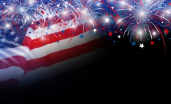USA flag and fireworks background with copy space