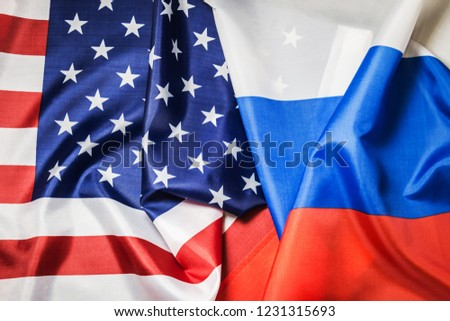 Usa flag and Russia flag background. Textile flags of the world #1231315693