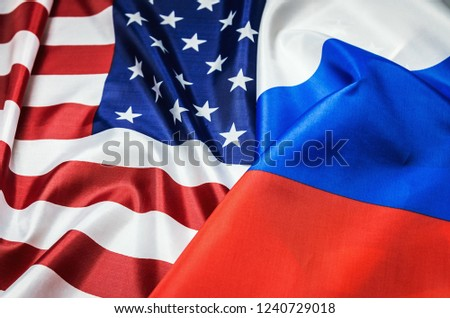 Usa flag and Russia flag background. Textile flags of the world #1240729018