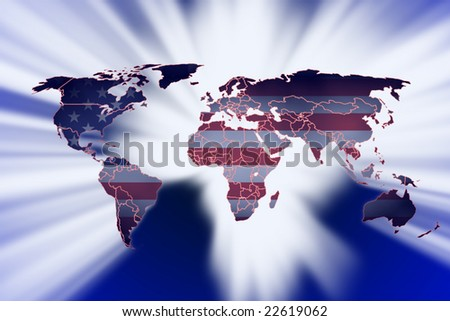 usa flag as world map on blue background with white rays