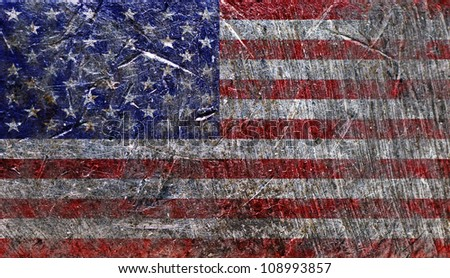 USA Flag background on metal