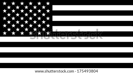 USA Flag - Black and white composition.