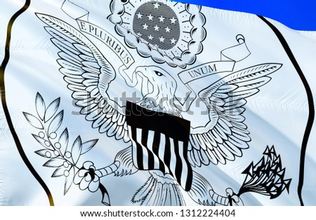 USA flag. 3D Waving flag design. The national symbol of USA, 3D rendering. Great Seal National colors. National flag of USA in America for a background. USA sign- Moscow 8 May 2018  #1312224404
