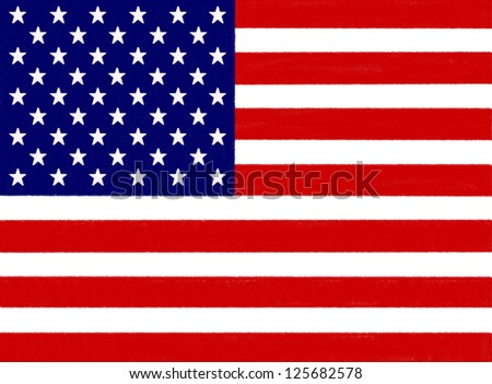 USA flag drawing by pastel on charcoal paper