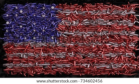 USA Flag formed out of bullets / 3d illustration / 3d rendering