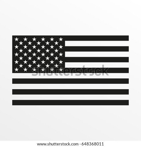 USA flag icon. Black and white United States of America national symbol. #648368011