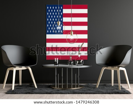 USA Flag in Room, USA Flag in Photo Frame #1479246308