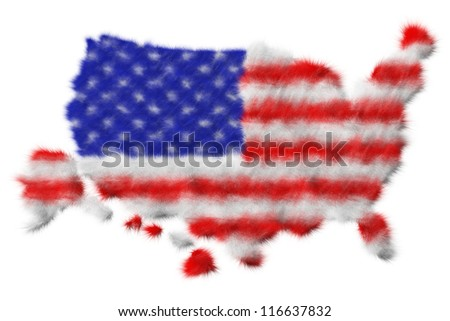 USA flag made from fur on map. Isolated on white