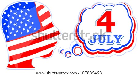 USA flag man with speech bubbles - independence day - raster
