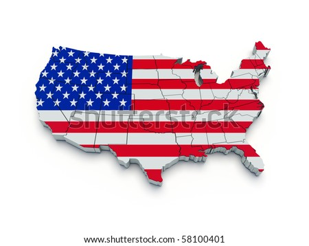 USA flag map. 3D render
