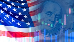 USA flag next to a portrait of Franklin. Concept - Economy concatenate States. Financial market of America. Concept - federal reserve system. US Federal Reserve. Charts symbolize market changes.