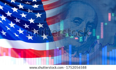 USA flag next to a portrait of Franklin. Concept - Economy concatenate States. Financial market of America. Concept - federal reserve system. US Federal Reserve. Charts symbolize market changes. Сток-фото ©