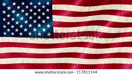 USA flag old crinkled effect illustration.