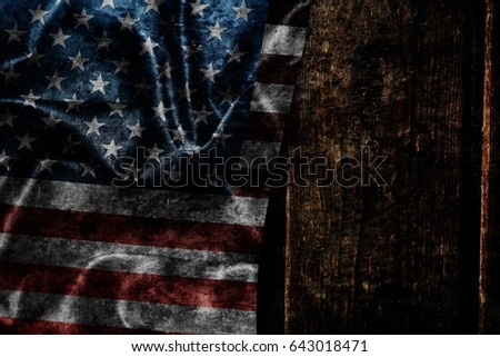 USA flag on a wood surface