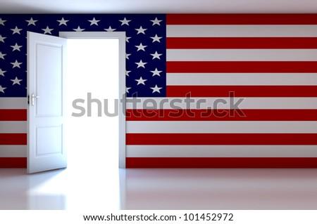 USA flag on empty room