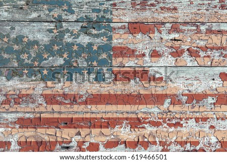 Usa flag on old background. America