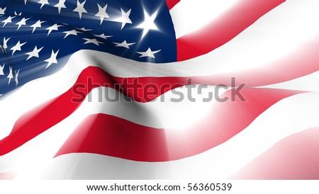 USA flag render shine