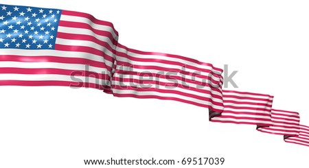 USA flag ribbon high in the sky. 3d concept illustration