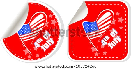USA flag sign label stickers set. Raster