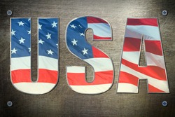 USA flag sign on steel background texture