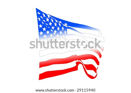 USA flag silhouette waving in the wind isolated on white